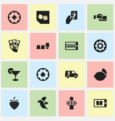 Set of 16 editable gambling icons includes vector