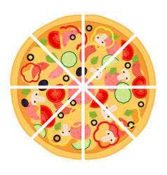 Slices of pizza with meat pepperoni tomato vector
