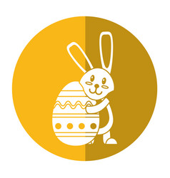 easter rabbit hugging egg shadow vector image