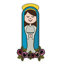 white background of colorful christian virgin and vector image