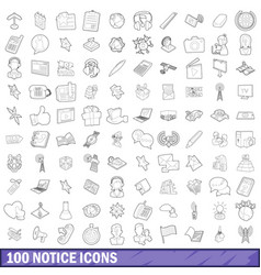 100 notice icons set outline style vector