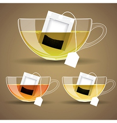 set of Glass cup with tea vector image
