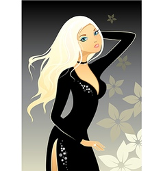 Blonde in black dress vector