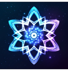 Blue shining cosmic abstract snowflake vector image
