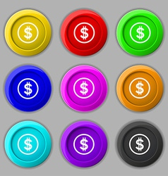 Dollar icon sign symbol on nine round colourful vector
