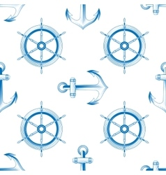 Marine themed seamless pattern vector