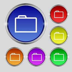 Folder icon sign round symbol on bright colourful vector