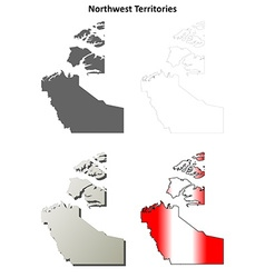 Northwest territories blank outline map set vector