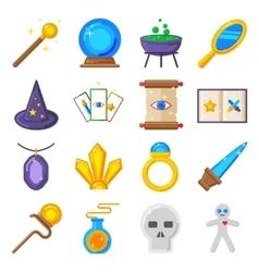 Magic performance decorative icons set magician vector image