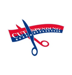 Cut Spending Scissors Cutting Bill vector image