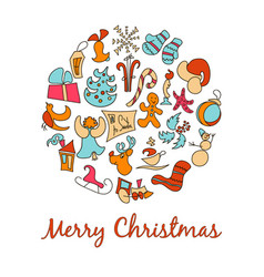 A set of cartoon images for the christmas vector