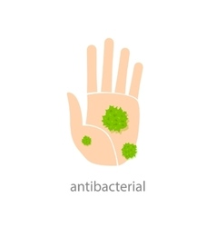 Antibacterial sign with green bacteria vector