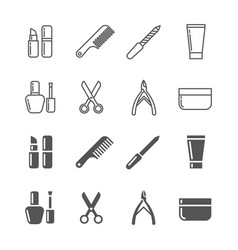 beauty and cosmetics icons - line and silhouette vector image
