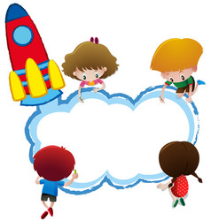 border template with kids drawing vector image