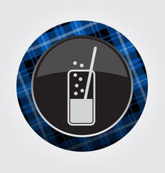 button with blue black tartan - carbonated drink vector image vector image