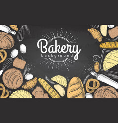 Chalk drawing bakery background top view vector