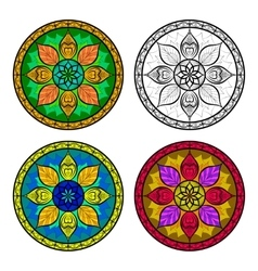 Color floral mandala set isolated on white vector