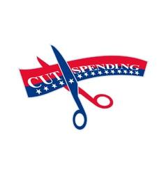 Cut Spending Scissors Cutting Bill vector image vector image