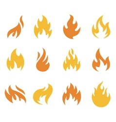 Fire and Flame Symbols and Icons vector image vector image