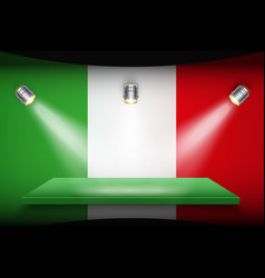 Flag of italy and platform with spotlights vector