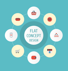 flat icons purse purchase payment and other vector image vector image