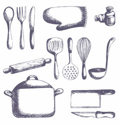 Kitchen tools set hand drawing vector