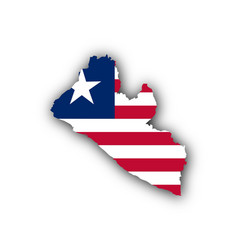 Map and flag of liberia vector