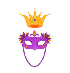 mardi gras mask and crown isolated vector image vector image