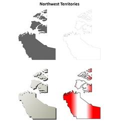 Northwest territories blank outline map set vector
