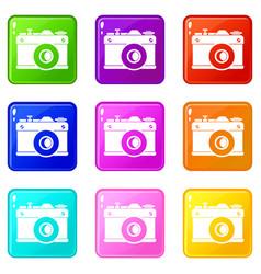 Retro camera set 9 vector