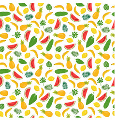 seamless pattern with bananas pineapples vector image