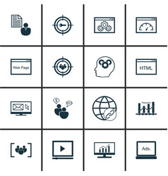 Set of 16 seo icons includes focus group video vector