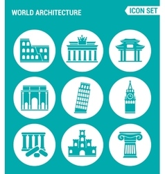 Set of round icons white world architecture vector