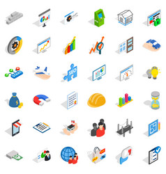 Start icons set isometric style vector