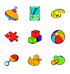 Toy icons set cartoon style vector