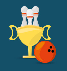 Trophy to win bowling game competition vector