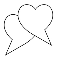 Two hearts icon outline style vector