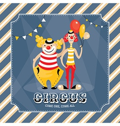 Vintage card with clowns vector