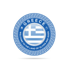 welcome to greece in blue color vector image