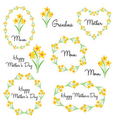 Happy mothers day with daffodils vector