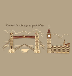 London line sepia composition vector