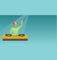 dj mixing music on the turntables vector image
