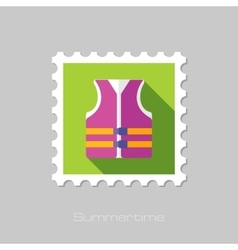Life jacket flat stamp with long shadow vector