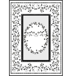 Decorative frame with graphic flourishes flowers vector