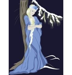 Snow queen near a christmas tree eps10 vector