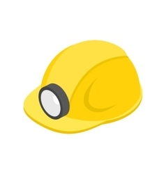 Helmet with flashlight 3d isometric icon vector