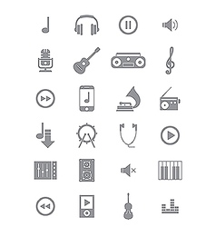 Gray music icons set vector