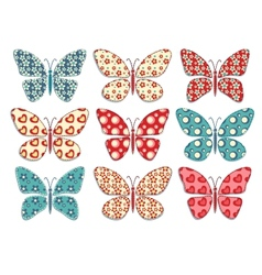 Set of patchwork butterflys 1 vector