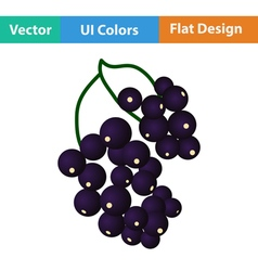 Flat design icon of black currant vector
