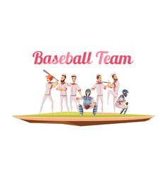 baseball team retro cartoon composition vector image